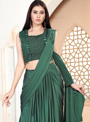 Handwork Green Lycra Trendy Saree