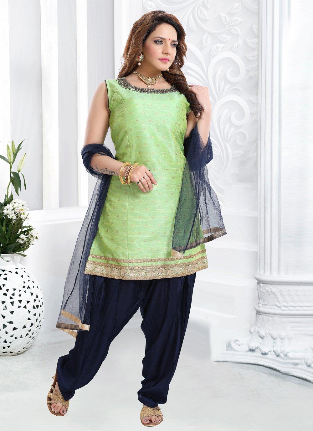 Handwork Green Silk Designer Patiala Suit