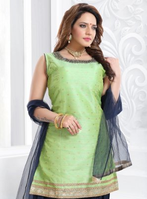 Handwork Green Silk Designer Patiala Suit