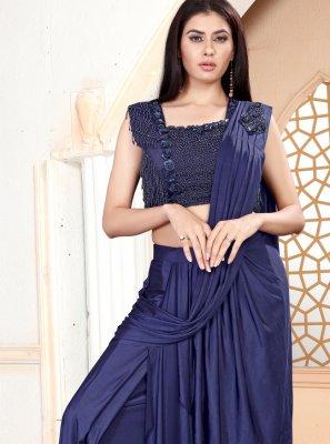 Handwork Lycra Classic Saree in Blue