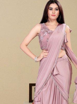 Handwork Lycra Designer Saree in Lavender