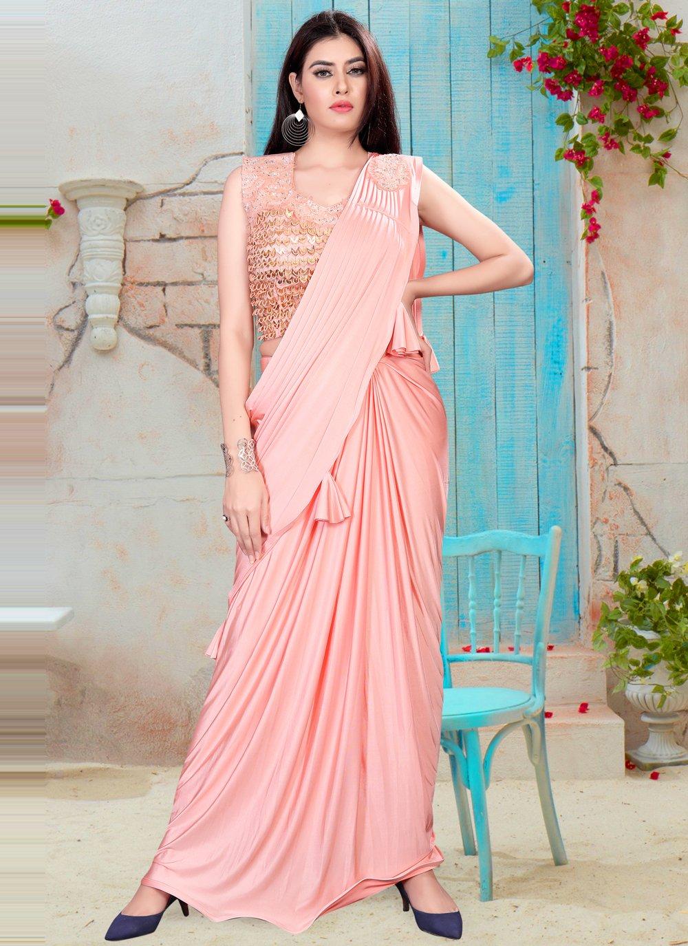 Handwork Lycra Peach Classic Designer Saree