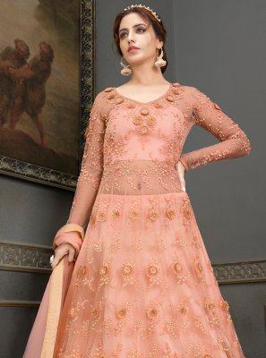 Handwork Mehndi Floor Length Anarkali Suit