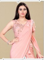 Handwork Pink Classic Designer Saree
