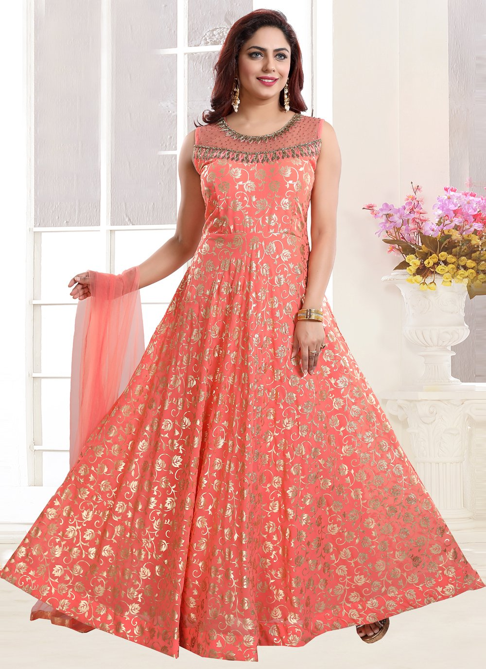 Handwork Pink Readymade Gown