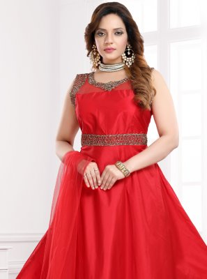 Handwork Tafeta Silk Red Readymade Gown