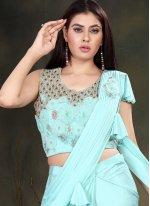 Handwork Turquoise Designer Saree