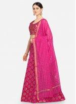 Hot Pink A Line Lehenga Choli