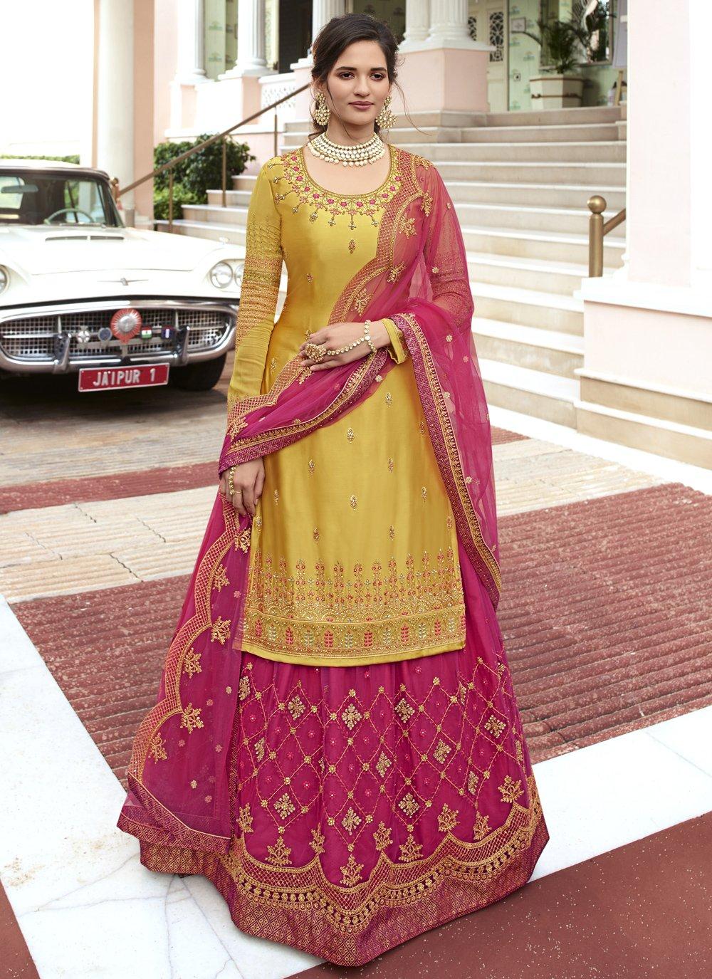 Hot Pink and Mustard Sangeet Designer Long Lehenga Choli
