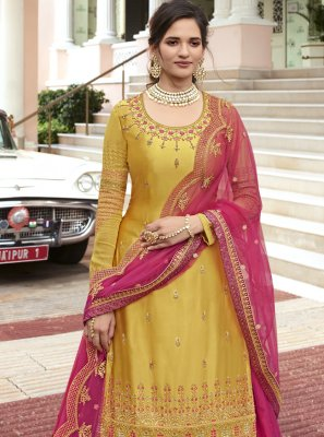 Hot Pink and Mustard Sangeet Designer Long Lehenga Choli