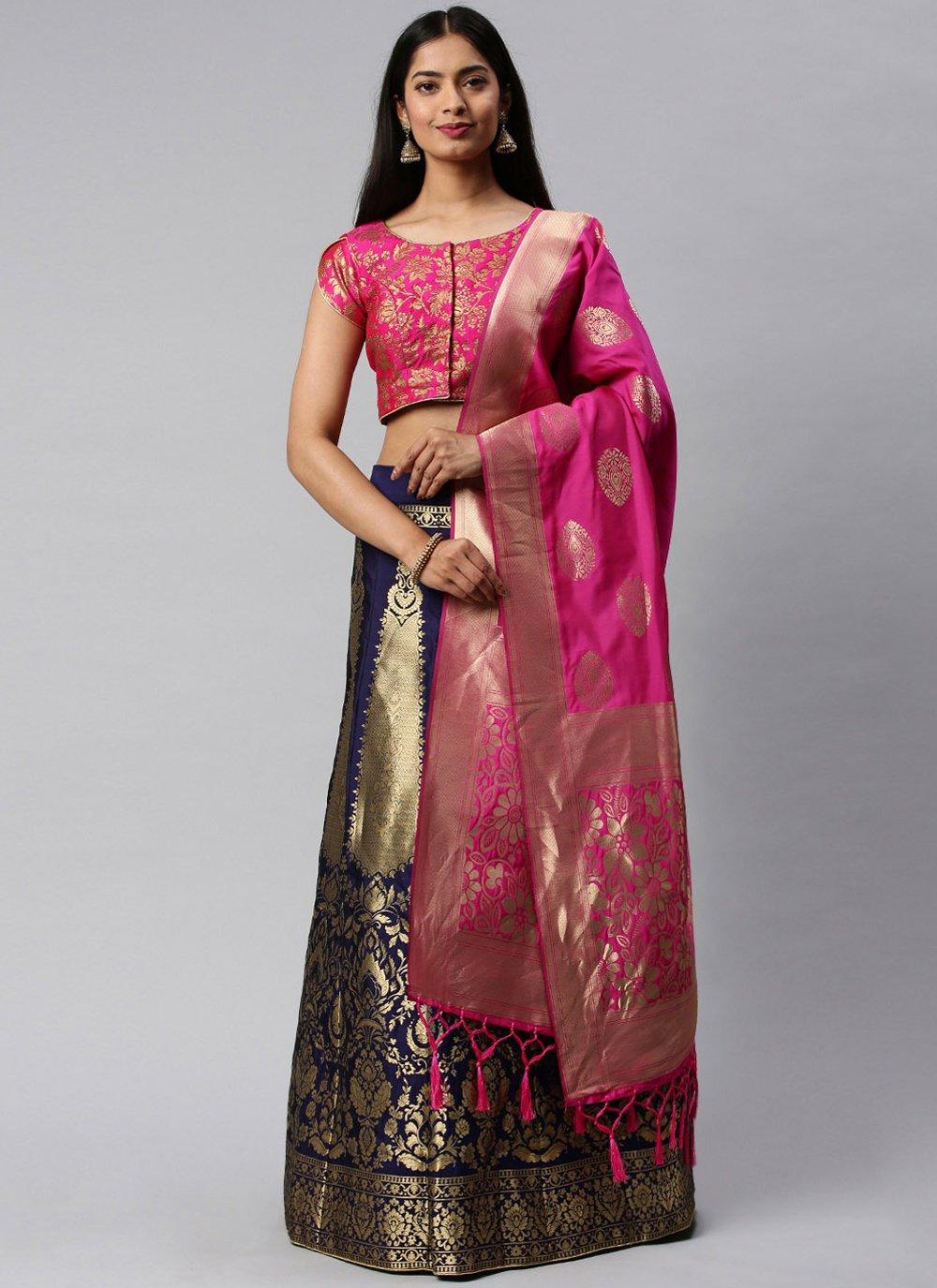 Hot Pink and Navy Blue Banarasi Silk Weaving Lehenga Choli