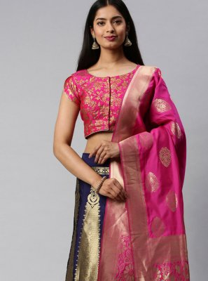 Hot Pink and Navy Blue Banarasi Silk Weaving Lehenga Choli