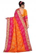Hot Pink and Orange Fancy Ceremonial Traditional Designer Saree