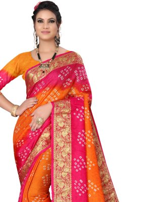 Hot Pink and Orange Fancy Ceremonial Traditional Designer Saree