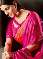Hot Pink and Orange Fancy Fabric Shaded Saree