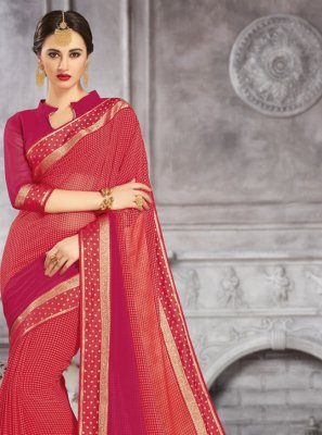 Hot Pink and Peach Festival Shaded Saree
