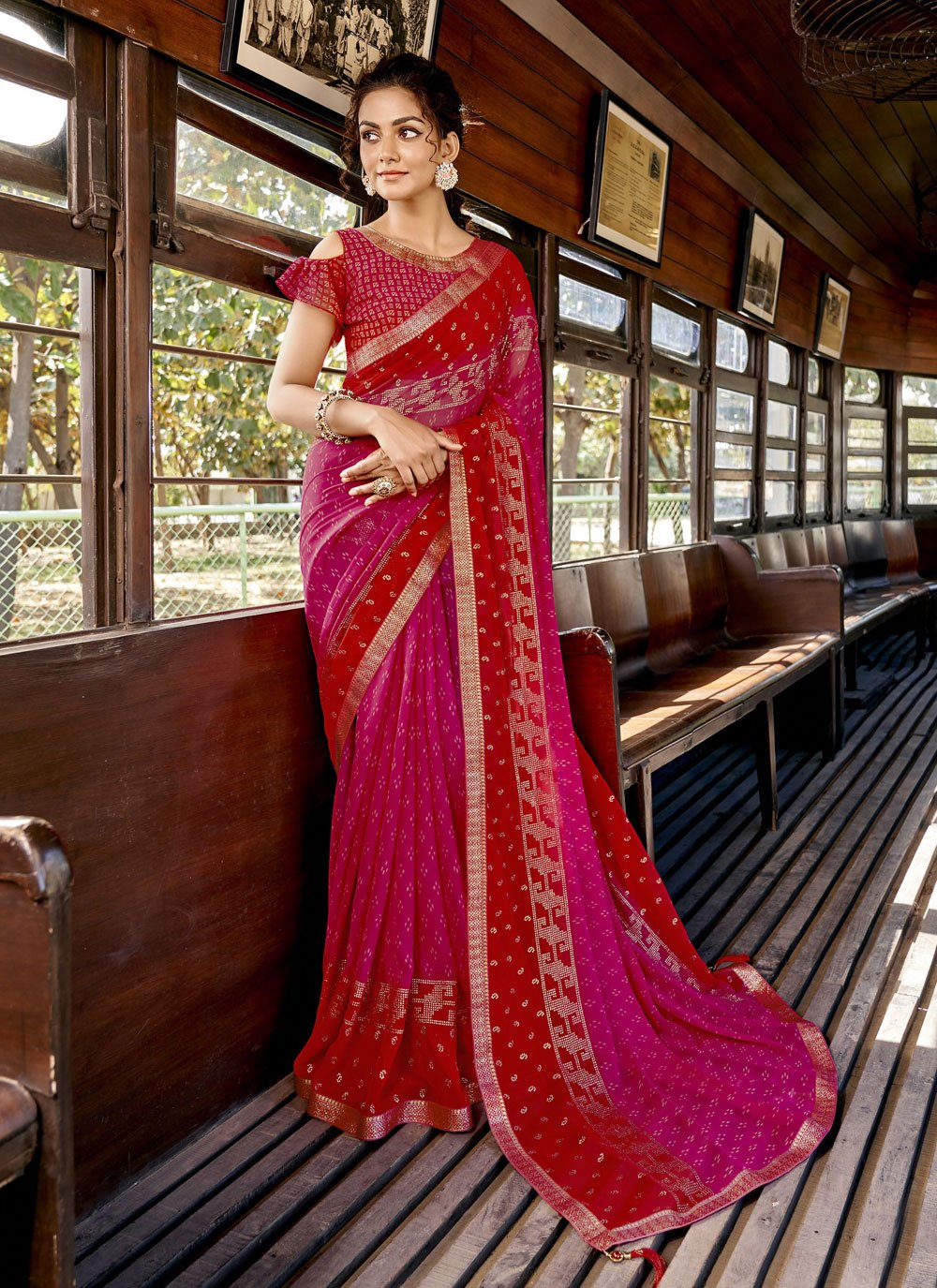 Hot Pink and Red Color Printed Saree