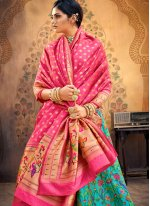 Hot Pink and Turquoise Weaving Lehenga Choli