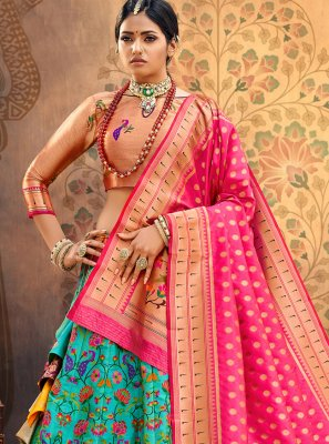 Hot Pink and Turquoise Weaving Lehenga Choli