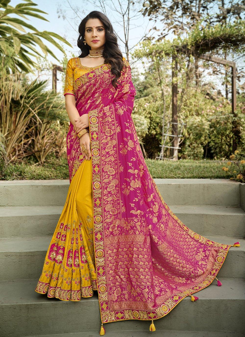 Hot Pink and Yellow Embroidered Banarasi Silk Half N Half Designer Saree
