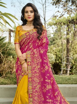 Hot Pink and Yellow Embroidered Banarasi Silk Half N Half Designer Saree