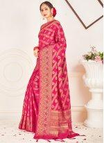 Hot Pink Art Banarasi Silk Designer Traditional Saree