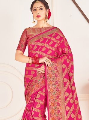 Hot Pink Art Banarasi Silk Designer Traditional Saree