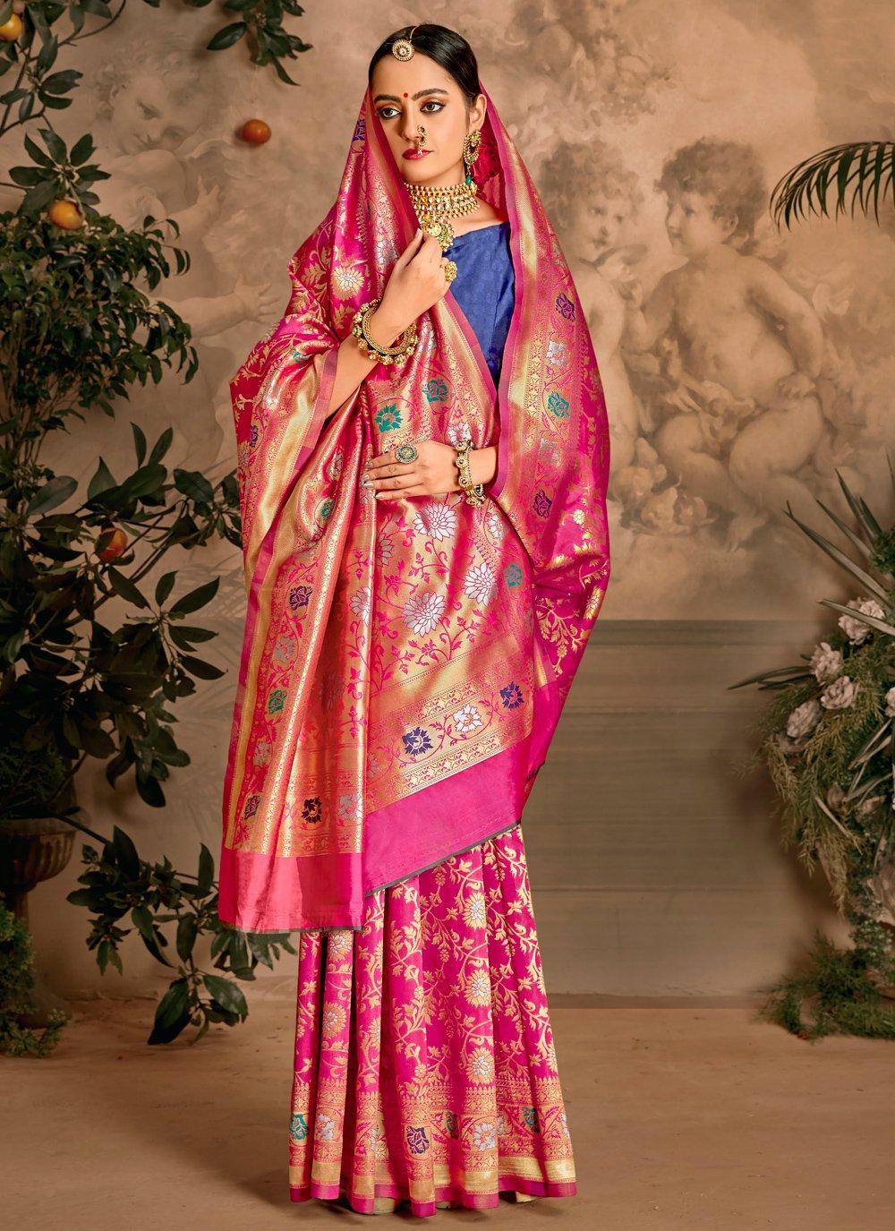 Hot Pink Art Silk Ceremonial Traditional Designer Saree