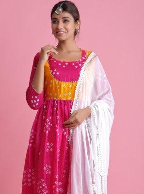 Hot Pink Art Silk Fancy Readymade Suit