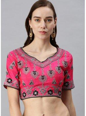 Hot Pink Art Silk Festival Designer Blouse