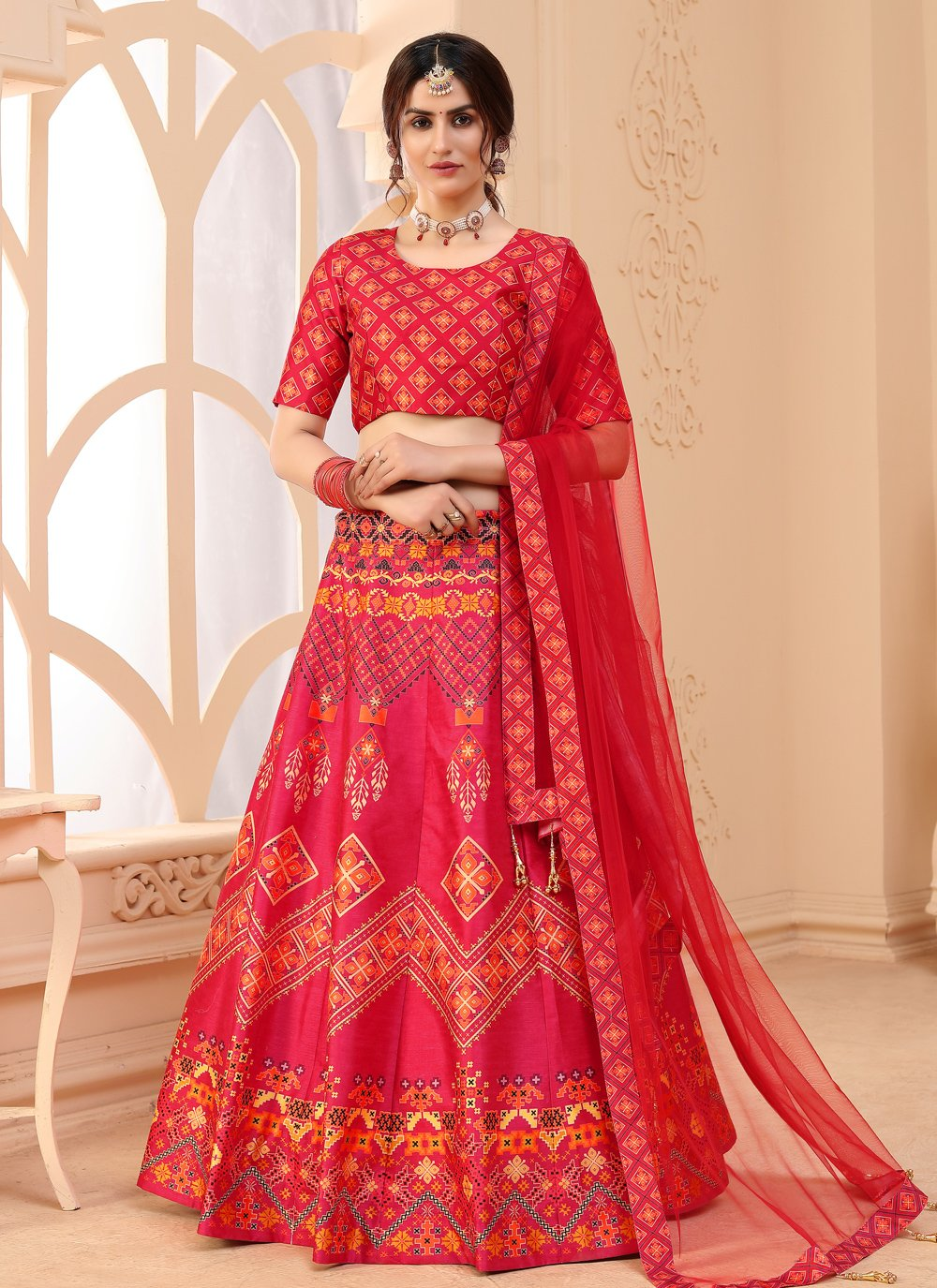 Hot Pink Art Silk Sangeet Lehenga Choli