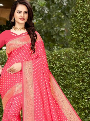 Hot Pink Banarasi Silk Designer Traditional Saree