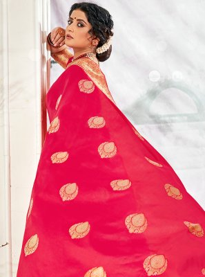 Hot Pink Banarasi Silk Traditional Saree