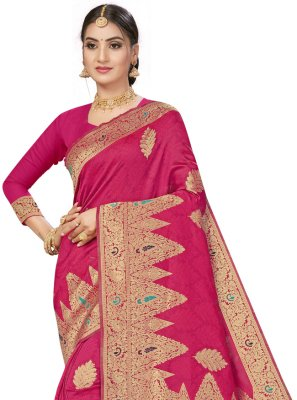 Hot Pink Banarasi Silk Weaving Designer Traditional Saree