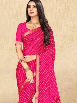 Hot Pink Casual Casual Saree