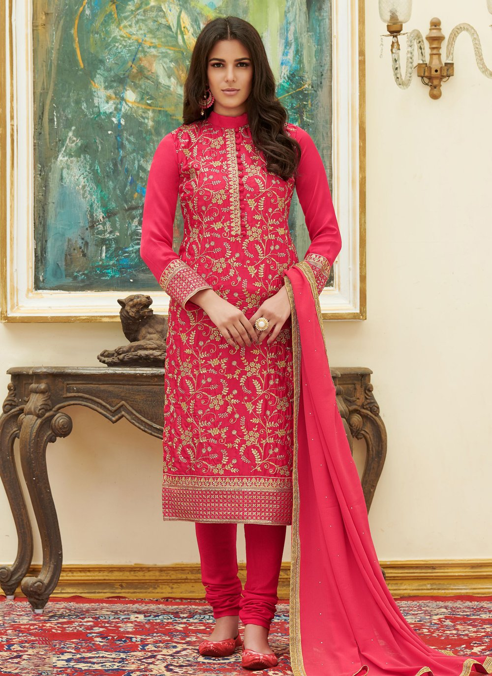Hot Pink Ceremonial Pant Style Suit