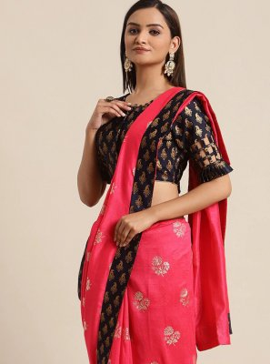 Hot Pink Ceremonial Silk Traditional Saree
