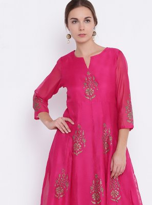 Hot Pink Chanderi Party Wear Kurti