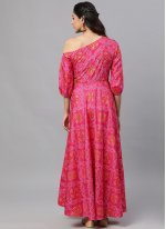 Hot Pink Color Readymade Gown