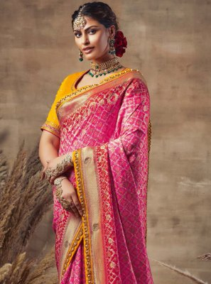 Hot Pink Embroidered Designer Traditional Saree
