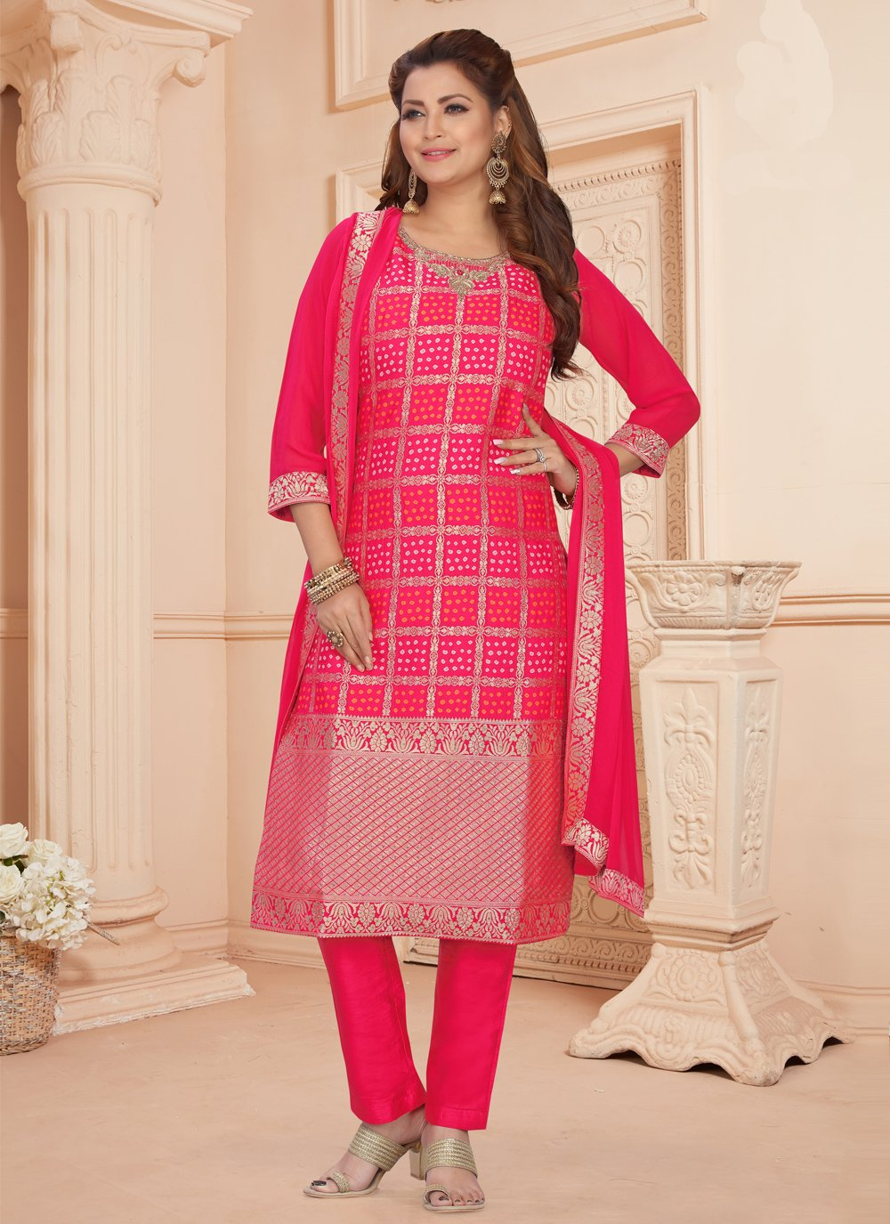 Hot Pink Embroidered Jacquard Readymade Suit