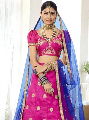 Hot Pink Embroidered Silk Lehenga Choli