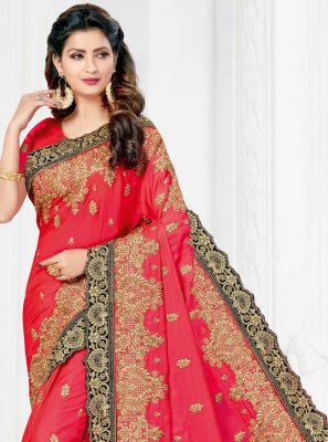 Hot Pink Embroidered Silk Traditional Designer Saree