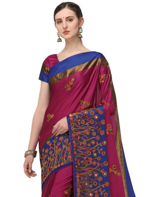 Hot Pink Embroidered Traditional Designer Saree