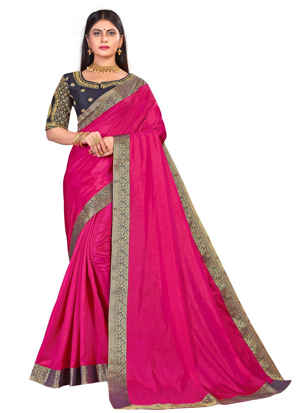 Hot Pink Embroidered Traditional Saree