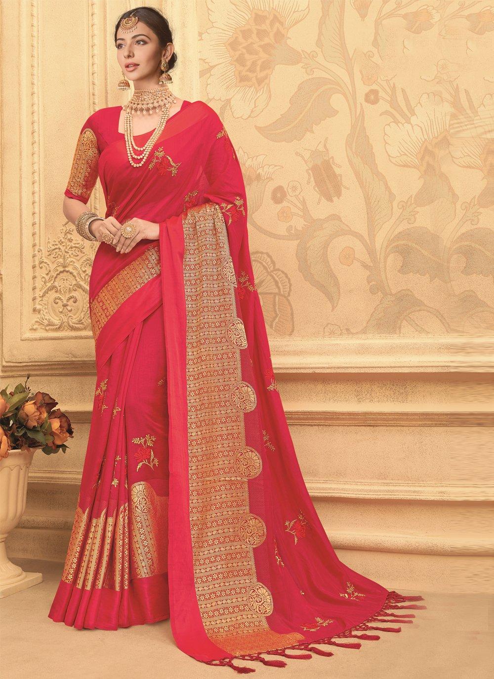 Hot Pink Engagement Art Silk Traditional Designer Saree