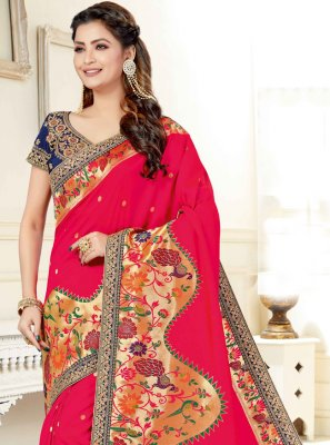 Hot Pink Engagement Designer Traditional Saree