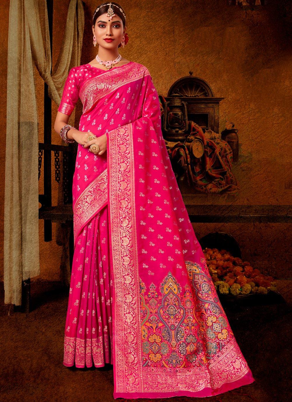 Hot Pink Engagement Traditional Designer Saree