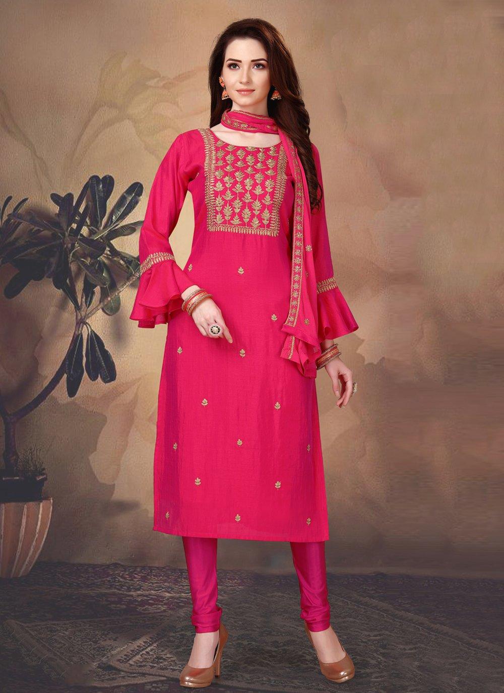 Hot Pink Fancy Art Silk Designer Suit