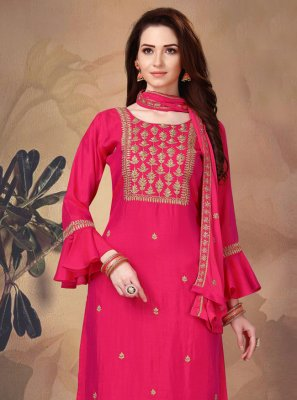 Hot Pink Fancy Art Silk Designer Suit
